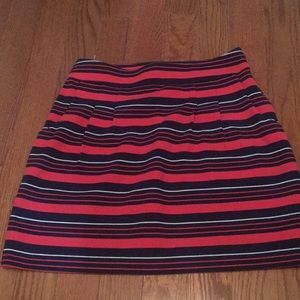 Navy and red striped skirt
